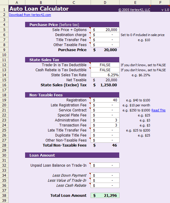 Car loan calculator with tax tag title