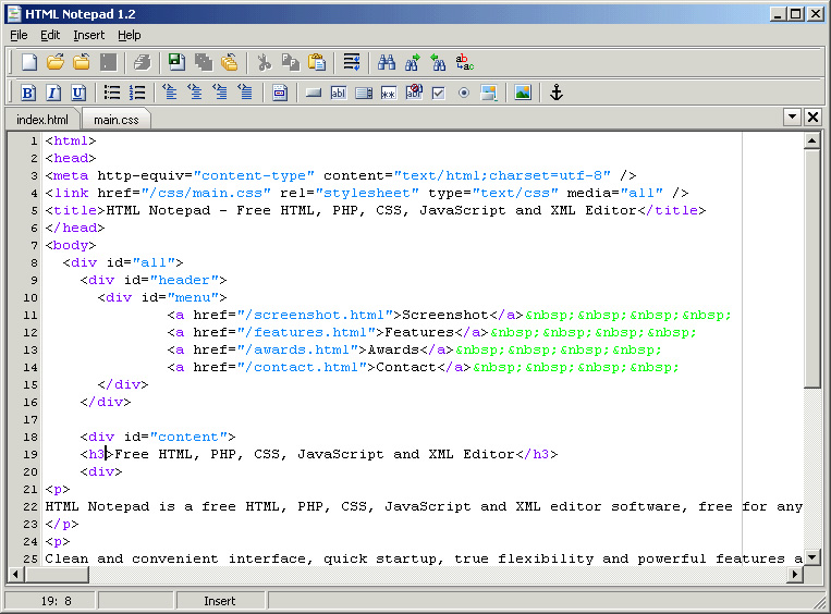 html notepad 1 3 freeware download